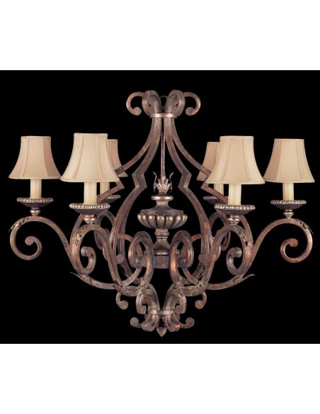 Lighting Six arm chandelier in tortoised leather crackle finish with stained silver leaf accents
