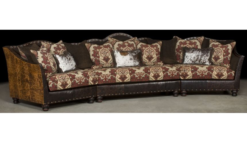 Luxury Leather & Upholstered Furniture Two tone Brown leather sectional
