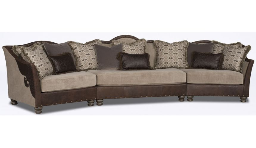 Luxury Leather & Upholstered Furniture Dark and Light Wedge Sofa