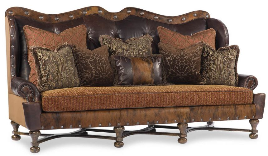 Luxury Leather & Upholstered Furniture High Back Decorative Sofa