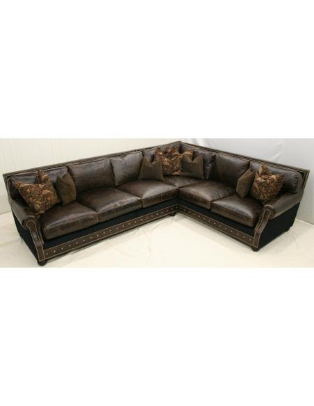 Brown Leather Left Arm Sofa