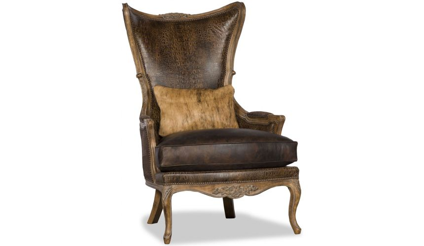 Luxury Leather & Upholstered Furniture Vintage Looking Wooden Arm Chair