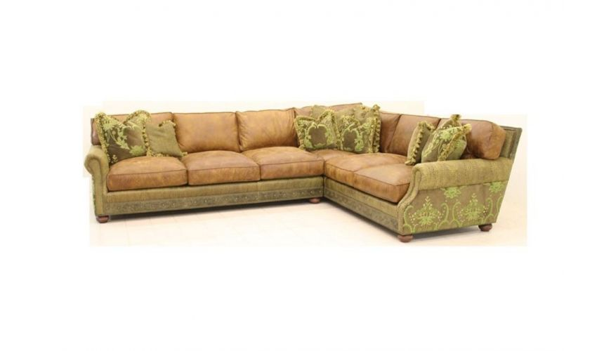 Caiman Spanish Moss Leather Sectional