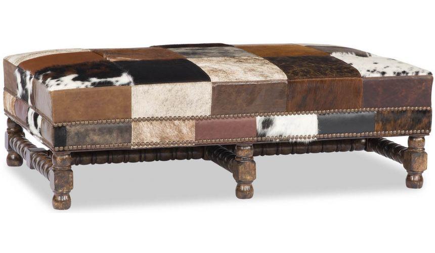 Luxury Leather & Upholstered Furniture Rectangular Animal Print Patchwork Ottoman