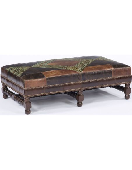 Luxury Leather & Upholstered Furniture Patchwork Leather Ottoman