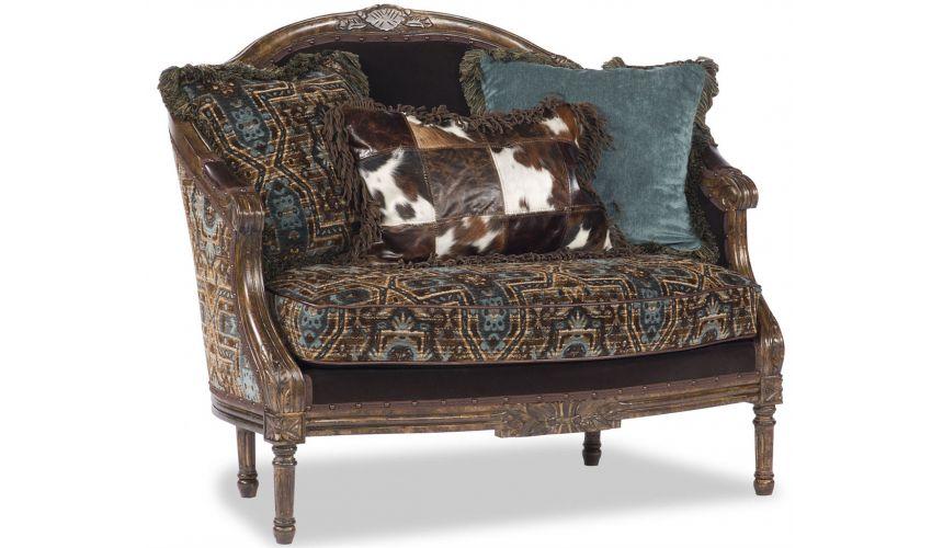 Western Furniture Blue and Brown Designer Settee