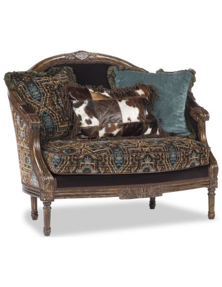 Western Furniture Blue and Brown Designer Settee