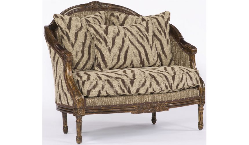 Luxury Leather & Upholstered Furniture Cream and Brown Jungle Settee