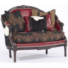 Animal Print, Leather and Upholstered Settee