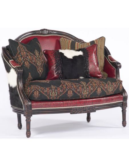 Western Furniture Animal Print, Leather and Upholstered Settee