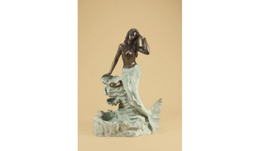 Decorative Accessories Home Luxurious Accents Mermaid on Rock Fountain