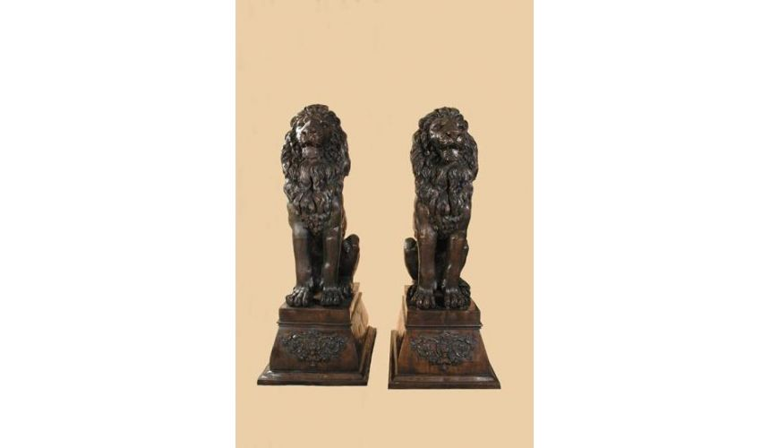 Decorative Accessories Home Luxurious Lion Sitting on Pedestal Sold as Pair