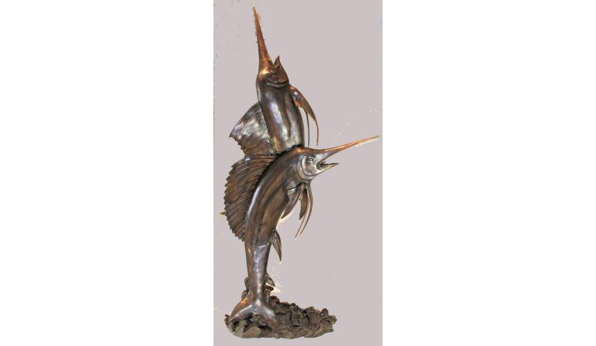 Decorative Accessories Home Statues Accessories Swordfish Fountain Bronze