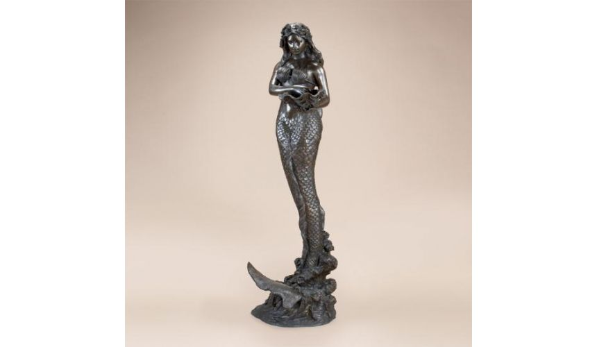 Decorative Accessories Home Accessories Mermaid Holding Shell Fountain