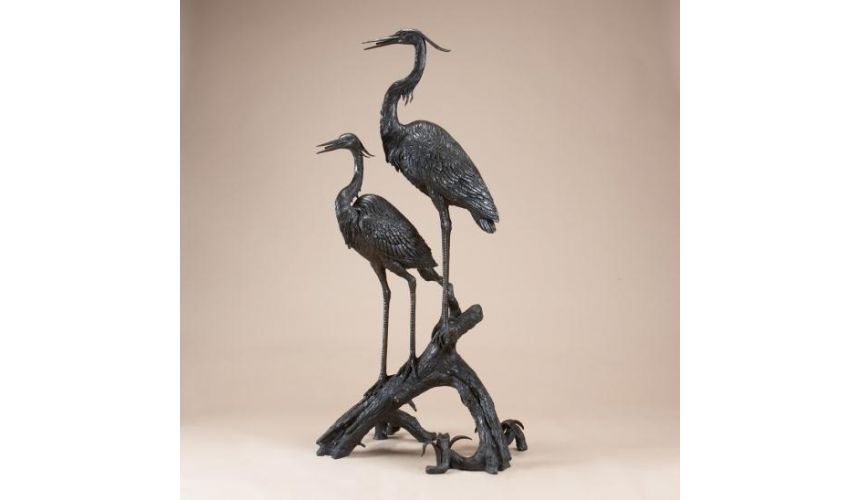 Decorative Accessories Home Accessories Cranes on a Log Fountain