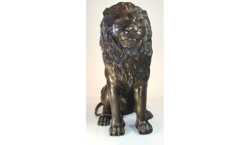 Decorative Accessories Home Tabletop Decor Sitting Lion Pair Bronze