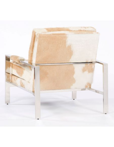 Modern style hair on hide accent chair. BLONDE
