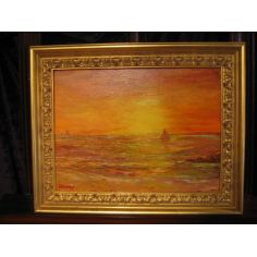 Sunset Sail original oil paintings, Artist Anne-Marie Debuissert