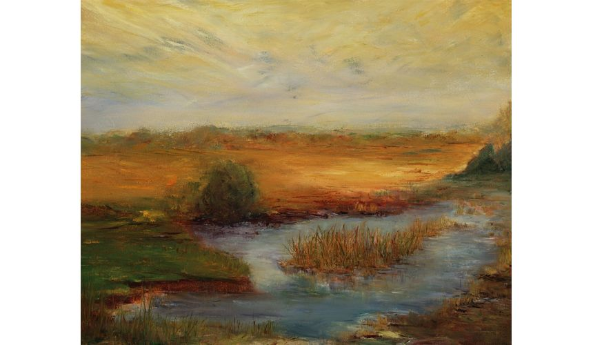 Original Oil Paintings By Artist: Anne-Marie Debuissert Peaceful Pond original oil paintings