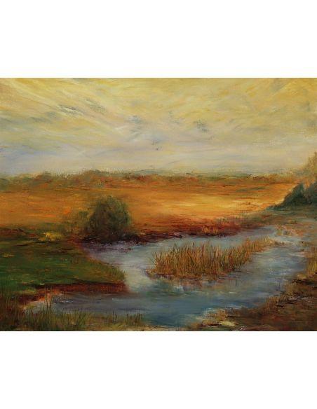 Original Oil Paintings By Artist: Anne-Marie Debuissert Peaceful Pond original oil paintings