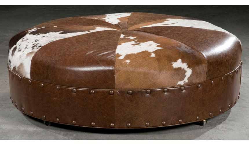 Luxury Leather & Upholstered Furniture Supper sized hair hide ottoman. American furniture.