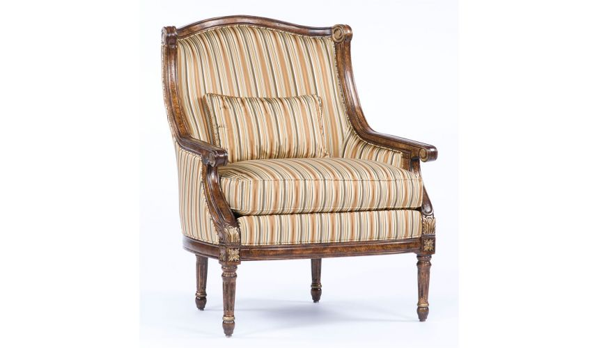 Luxury Leather & Upholstered Furniture American home furniture and furnishings. Cool striped accent chair. 70
