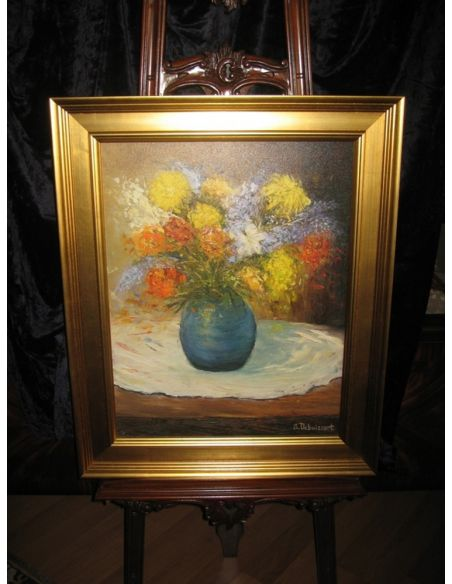 Original Oil Paintings By Artist: Anne-Marie Debuissert Canvas print Splashy Bunch of Flowers