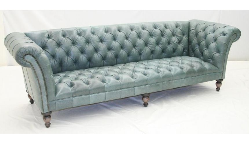 Aqua Tufted leather Sofa, Luxury Furniture