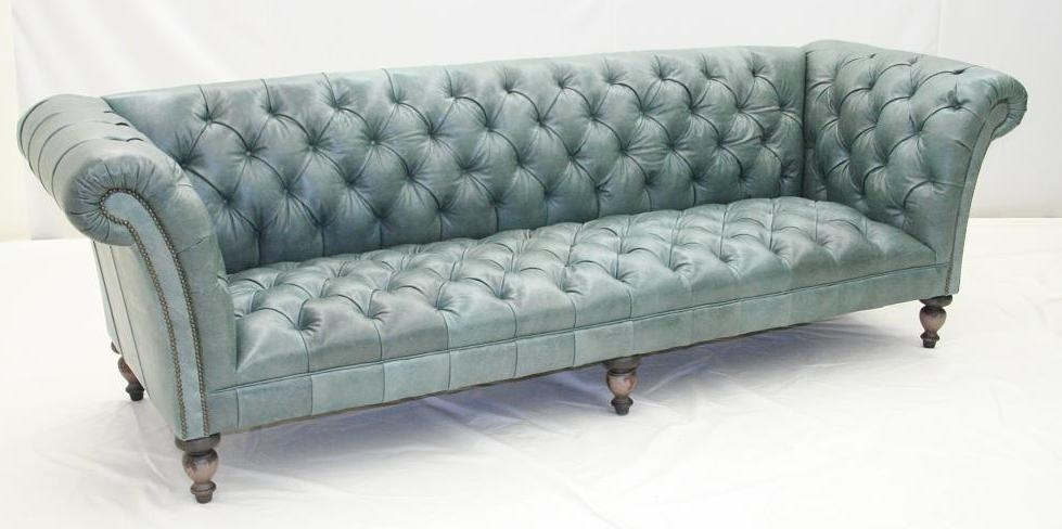 Aqua Tufted Leather Sofa Luxury Furniture