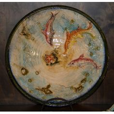 Colorful Dolphins and sea creatures display dish