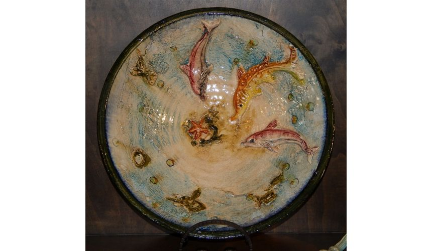 Decorative Accessories Colorful Dolphins and sea creatures display dish