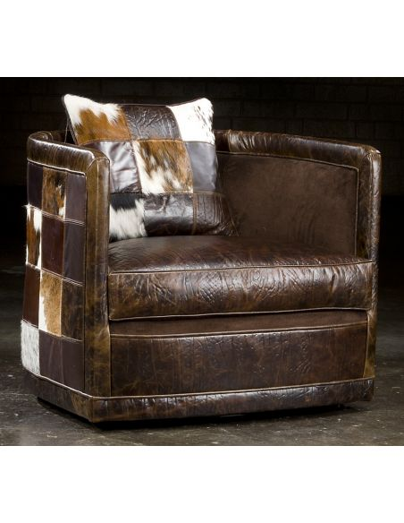 Luxury Leather & Upholstered Furniture Art deco leather patches swivel chair