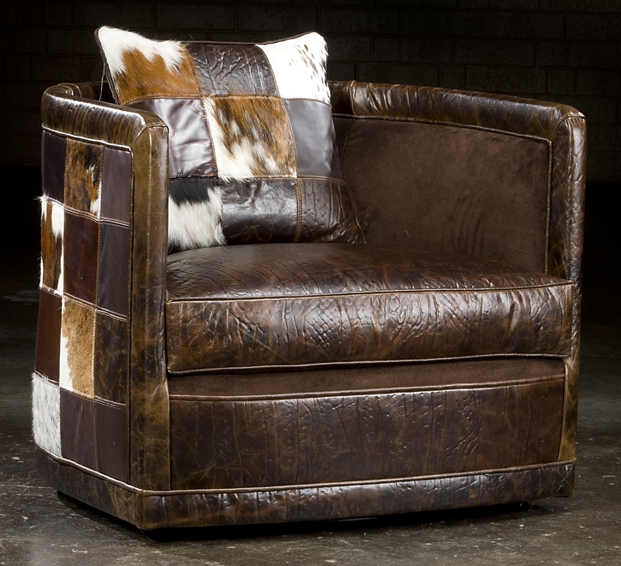 Luxury Leather U0026 Upholstered Furniture Art Deco Leather Patches Swivel Chair