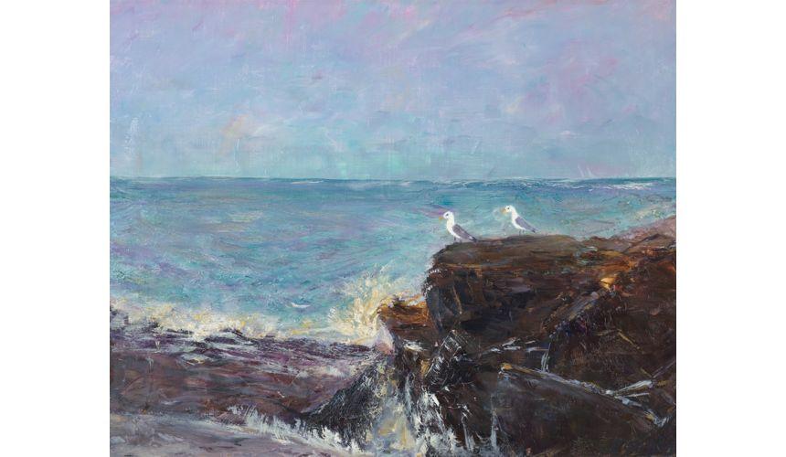 Original Oil Paintings By Artist: Anne-Marie Debuissert Misty Ledge, art gallery east greenwich ri