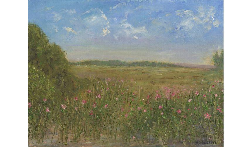 Original Oil Paintings By Artist: Anne-Marie Debuissert Blue Skies n Wild Roses, art gallery