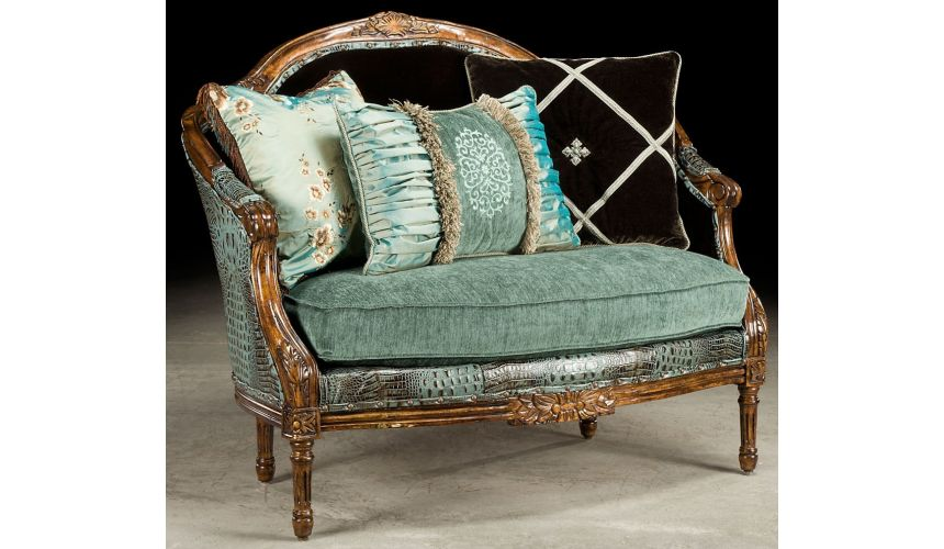 SETTEES, CHAISE, BENCHES Baby blue gator settee, how crazy do you want to get.