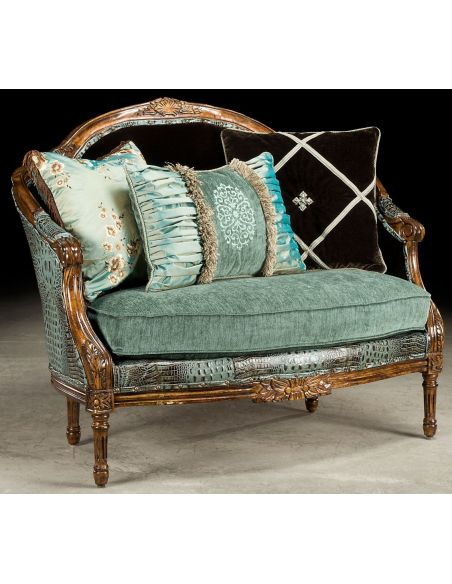 Luxury Leather & Upholstered Furniture 1 Baby blue gator settee, how crazy do you want to get.