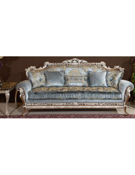 Luxury Leather & Upholstered Furniture Baby blue sofa and arm chair. Handmade in Europe.