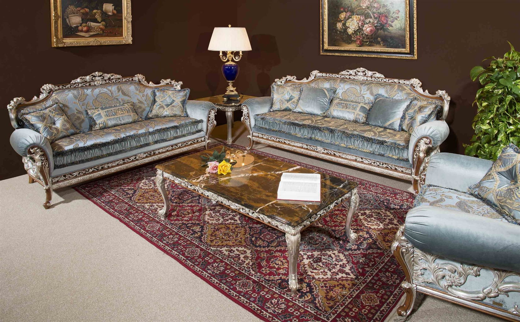 Luxury Leather U0026 Upholstered Furniture Baby Blue Sofa And Arm Chair.  Handmade In Europe.