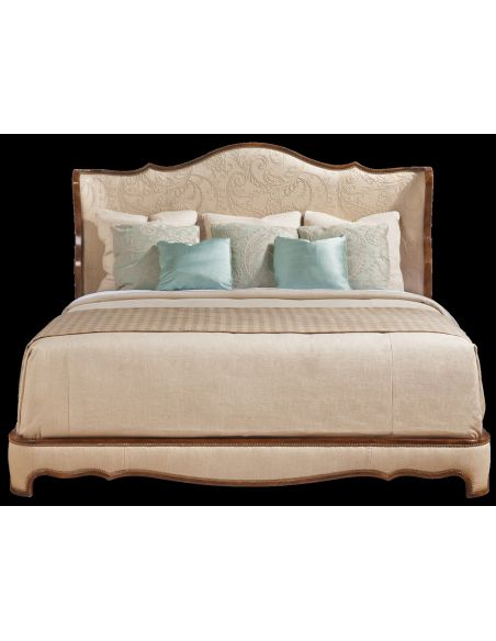 Upholstered bed with sleek modern styling. 405