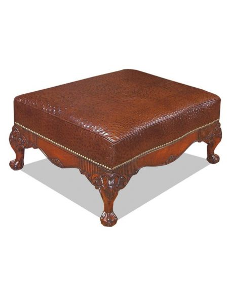 Luxury Leather & Upholstered Furniture Library Ottoman-sofa, chair, leather, fabric