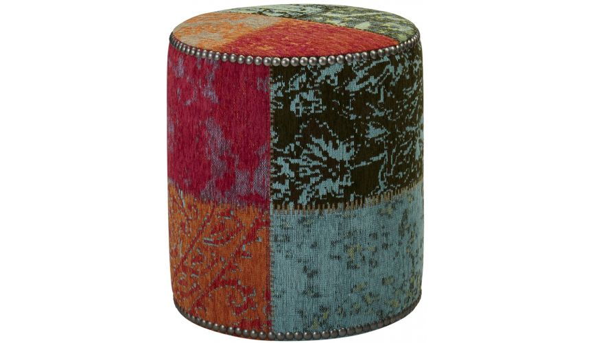 Luxury Leather & Upholstered Furniture Curio Crayon Accent Ottoman