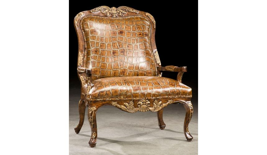 Luxury Leather & Upholstered Furniture Big gator Louie arm chair. 40