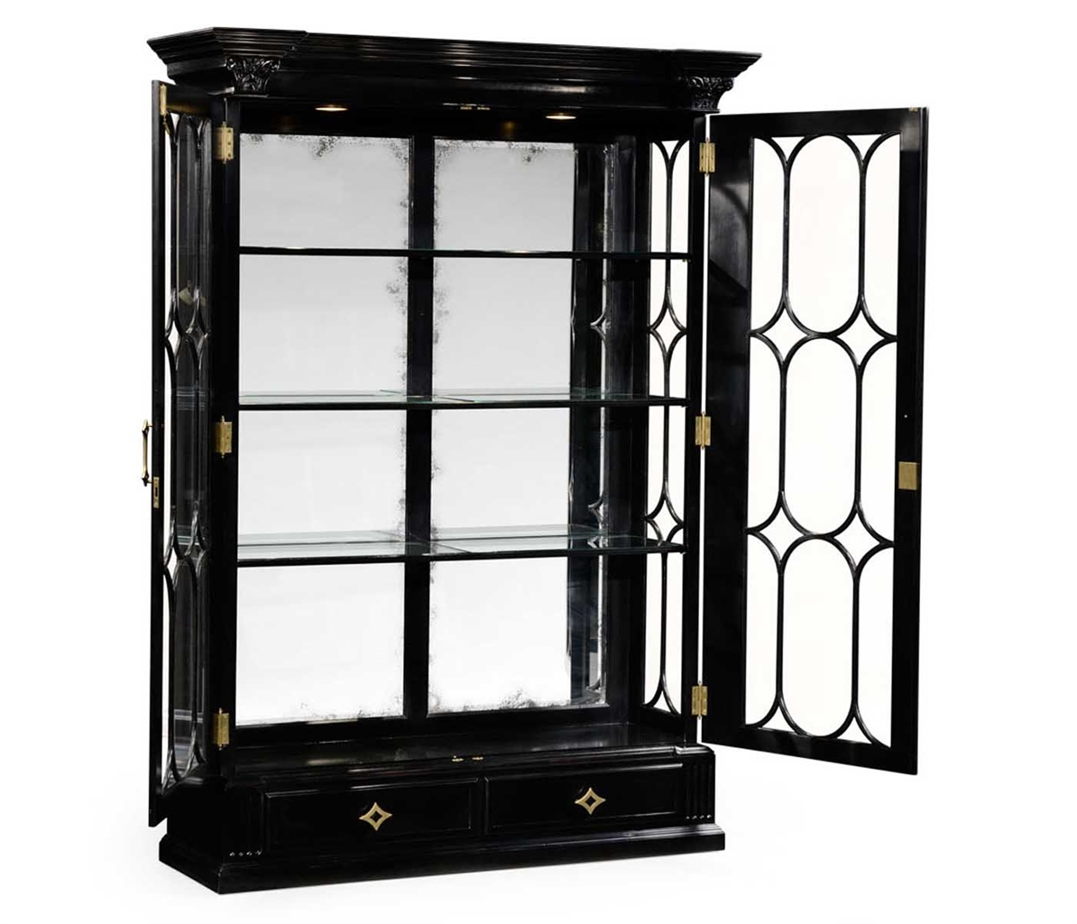 Black painted display cabinet elegant decor for Meuble mural vitrine