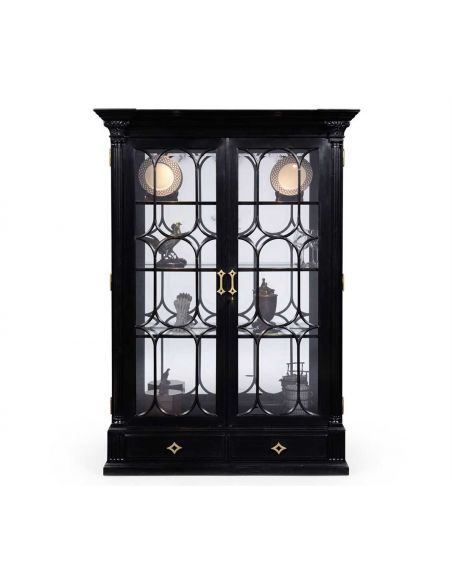 Breakfronts & China Cabinets Black Painted Display Cabinet. Elegant Decor