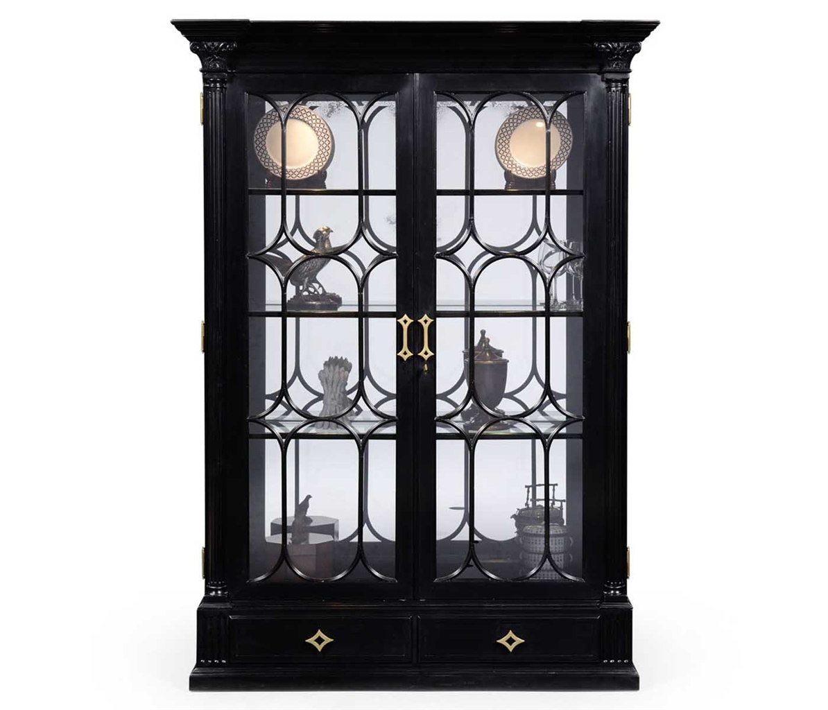 Black Painted Display Cabinet Elegant Decor