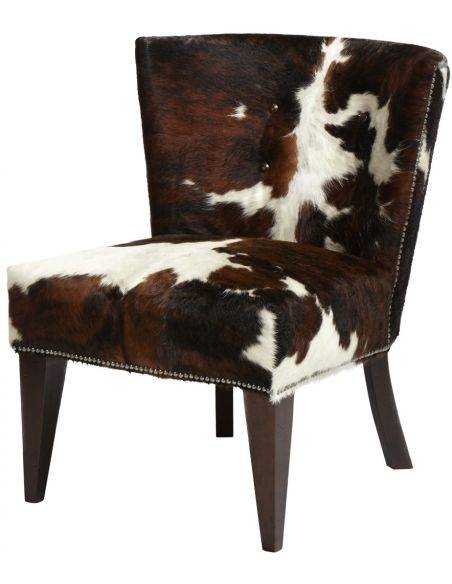 Tricolor Cowhide Armless Chair