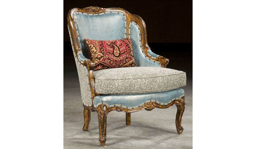 Blue Leather and Fabric Carved Frame Chair
