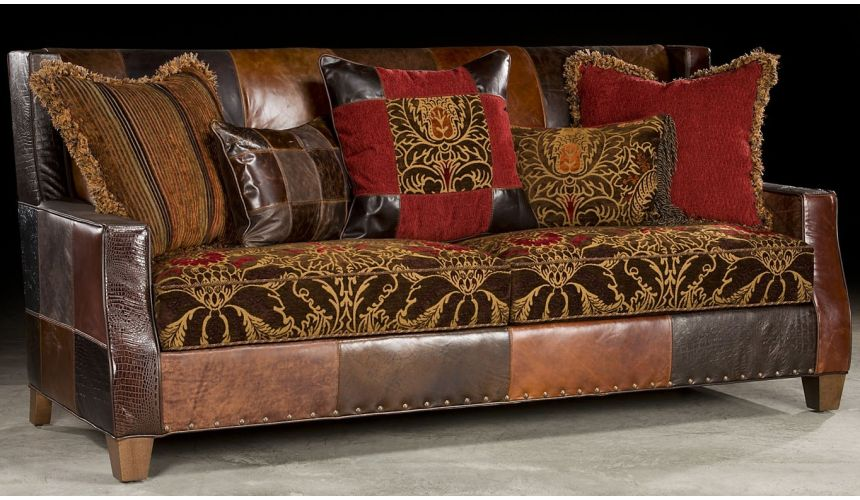 Luxury Leather & Upholstered Furniture Bold Print Fabric and leather Sofa