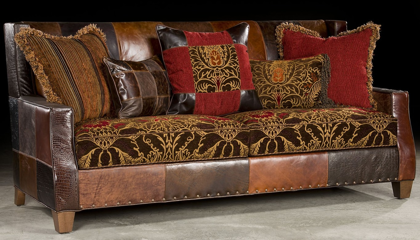 Bold Print Fabric And Leather Sofa